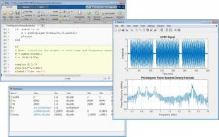 A MATLAB visualization/plot, the MATLAB Live Editor, and a MATLAB app.